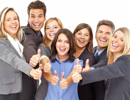 young professionals: Large group of young smiling business people. Over white background