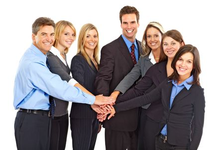 Large group of young smiling business people. Over white background Stock Photo - 5720278