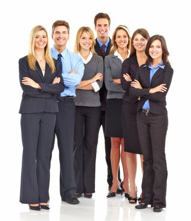 Grupo grande de jóvenes hombres de negocios sonreír. Sobre fondo blanco Foto de archivo - 5720256