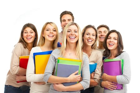 group of smiling  students. Isolated over white background Stock Photo - 5720280