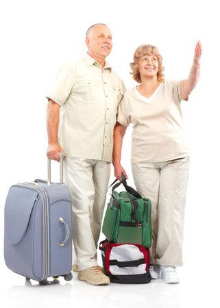 Smiling happy elderly couple. Isolated over white background Stock Photo - 5720316