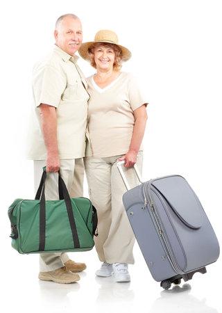 Smiling happy elderly couple. Isolated over white background photo