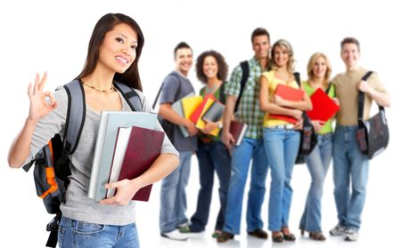 Large group of smiling  students. Isolated over white background Stock Photo - 5720367
