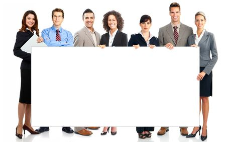 bill board: Large group of young smiling business people. Over white background