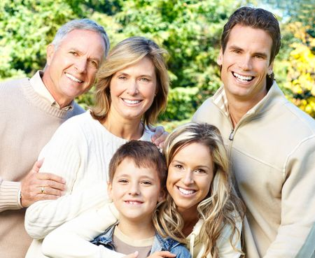 Happy family in park. Grandfather, grandmother, father, mother and son Stock Photo - 5753585