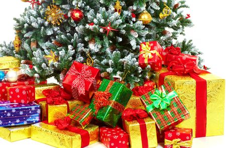 Christmas Tree and Gifts. Over white background Stock Photo - 5751698