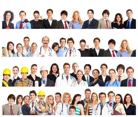 Large group of smiling people. Over white background Stock Photo - 5763576