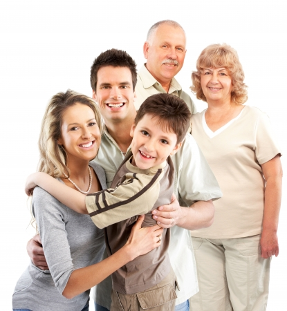 Happy family. Grandfather, grandmother, father, mother and boy. Isolated over white background