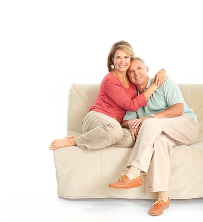 Happy elderly couple in love. Isolated over white background 스톡 콘텐츠