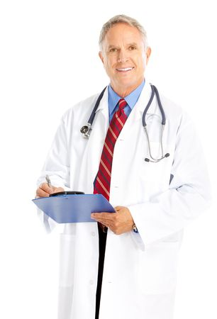 Smiling medical doctor with stethoscope. Isolated over white background Stock Photo - 5770861
