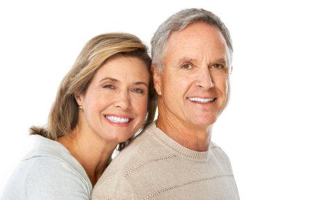 Happy elderly couple in love. Isolated over white background 版權商用圖片