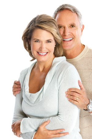 Happy elderly couple in love. Isolated over white background Banque d'images