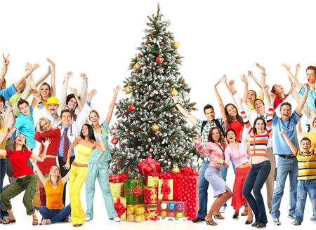 Dancing people  and Christmas Tree. Over white background Standard-Bild