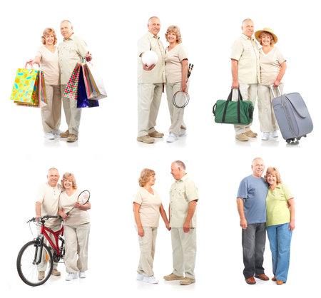 愛の幸せな老夫婦。白い背景の上の分離