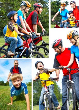 Happy family. Father, mother and son riding  in the park Stock Photo - 5770974