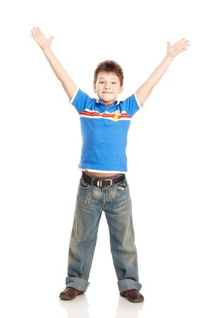 Grappig, jumping jongen. Geïsoleerd op witte achtergrond