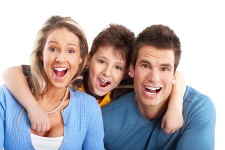 Happy family. Father, mother and boy. Over white background Stock Photo - 5771507