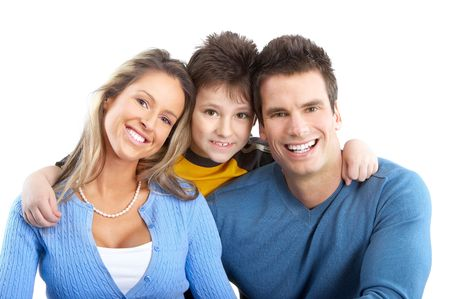 Happy family. Father, mother and boy. Over white background Stock Photo - 5771214