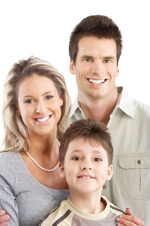 Happy family. Father, mother and boy. Over white background Stock Photo - 5771508