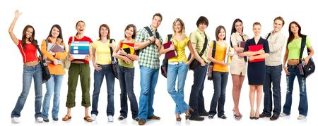 youth background: Large group of smiling  students. Isolated over white background