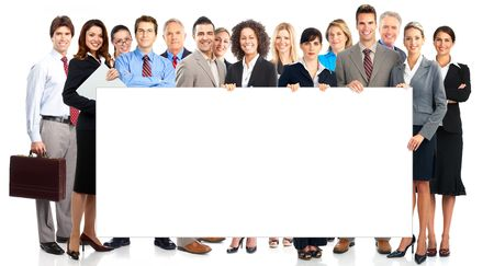 Large group of young smiling business people. Over white background Stock Photo - 5813167