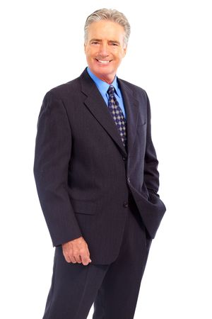 Smiling mature  businessman. Isolated over white background Banco de Imagens - 5813162