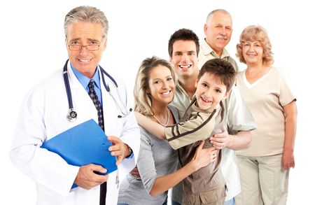 Smiling family medical doctor and young family. Over white background Reklamní fotografie - 5813128