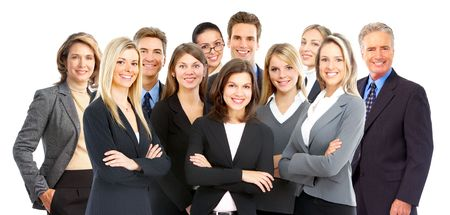 white work: Large group of young smiling business people. Over white background