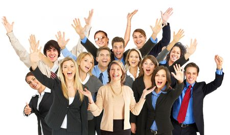 Large group of smiling business people. Over white background  photo