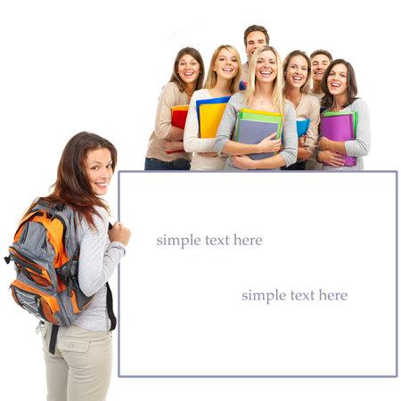 Gran grupo de estudiantes sonrientes. Aislado sobre fondo blanco Foto de archivo - 5813198