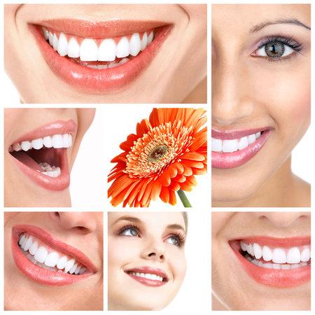 Belle dame sourit et des dents. Sur fond blanc Banque d'images - 5813204