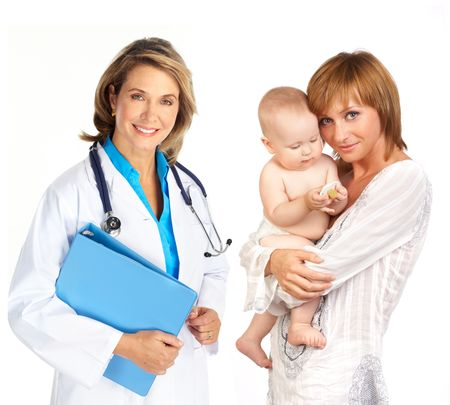Smiling family medical doctor and mother with baby. Over white background Stock Photo - 5813234