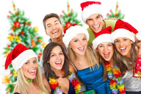 christmas background: Happy funny people. Christmas. Party. Isolated over white background Stock Photo