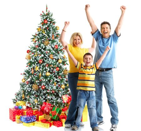 Family and a Christmas Tree. Over white background  photo