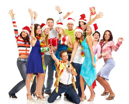 Happy funny people. Christmas. Party. Isolated over white background 스톡 콘텐츠