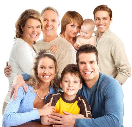 Big gelukkig gezin. Isolated over white background Stockfoto