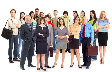 Grote groep jonge lachende mensen uit het bedrijfsleven. Over witte achtergrond
