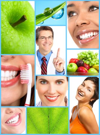 Smiling people with healthy teeth. Close up Imagens