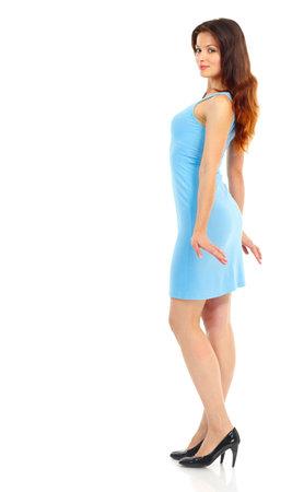 Mooie dancing vrouw. Geïsoleerd via witte achtergrond Stockfoto - 5838592