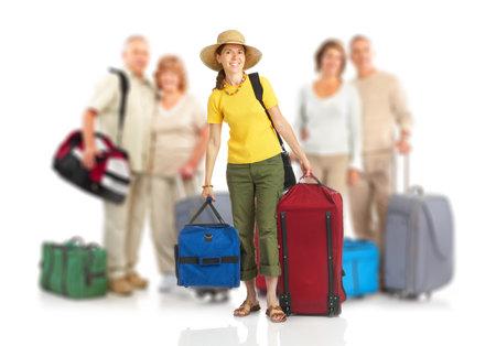 Happy toeristische mensen. Isolated over white background