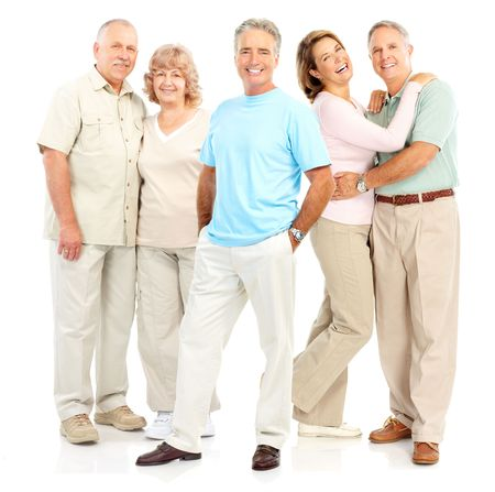 Happy elderly people. Isolated over white background