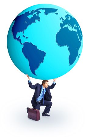 Successful businessman holding a globe . Isolated over white background