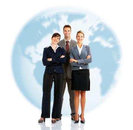 若いビジネス人々 の笑顔。白い背景に分離