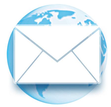 メールの封筒とグローブ。白い背景の上  写真素材