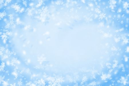 Christmas blue background with white showflakes  Imagens