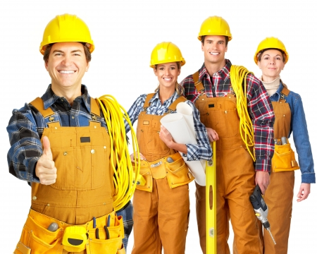 Young builder people  in yellow uniform. Isolated over white background photo