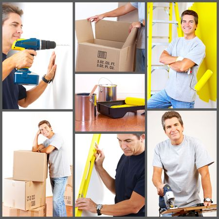 Renovation set. A man working at home  photo