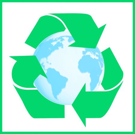 リサイクルの記号と地球。白い背景の上の分離