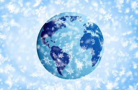 The Earth in snow. Over blue snow  background   photo