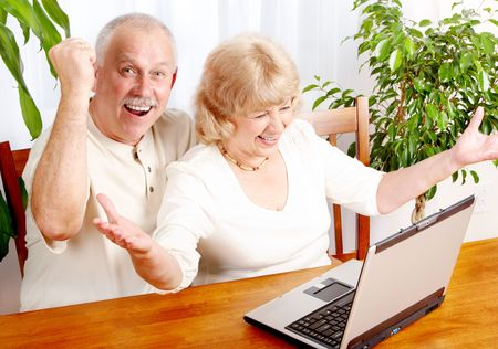 security technology: Senior couple  working with laptop at home